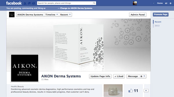New Aikon skin care facebook page